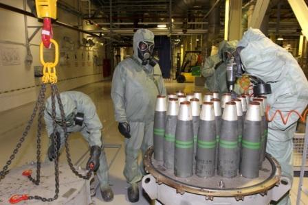 Подготовка артиллерийских снарядов к уничтожению